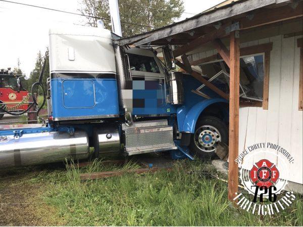 Semi Crashed Into House In Roy, Washington