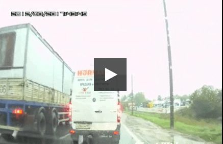 Impatient Motorcyclist Gets Soaked