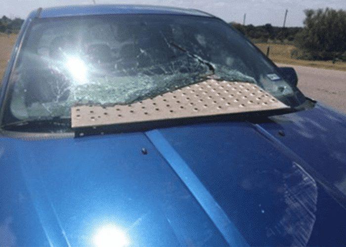 Semi's Metal Tread Plate Smashes Into Car Windshield