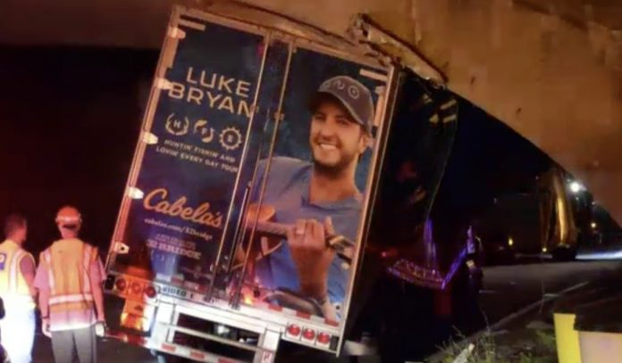 Country star's equipment truck crashes into Long Island overpass