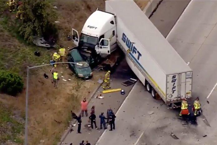 CHP Investigates Big Rig Crash On SR 125 That Left Two Dead, Six Hurt